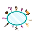 Hairdressing Tools flat mirror background vector image vector image