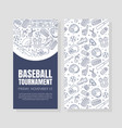 hand drawn baseball symbols used in two vector image vector image