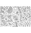 hand drawn robotics set doodle background vector image