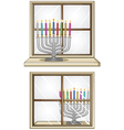 Hanukkiah On A Window vector image vector image