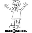 happy boy back to school cartoon color book vector image