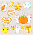 hello autumn set stickers with cute animals vector image vector image