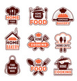 home cooking logo kitchen badges vector image