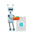 housemaid android character washing clothes in the vector image vector image