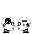 humanoids robots profiles icon vector image