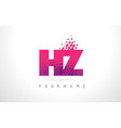 hz h z letter logo with pink purple color vector image vector image