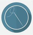 icon needle on white circle with a long shadow vector image vector image