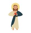 jesuschrist sacred heart cartoon vector image vector image