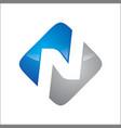 letter n on block logo blue n grey color vector image