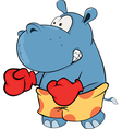 Little hippo boxer Cartoon vector image