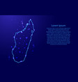 map madagascar from the contours network blue vector image
