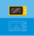 microwave oven with a dish insideflat vector image vector image