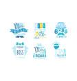 mini boss logo design templates collection cute vector image vector image