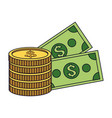 money coins and billets vector image vector image