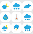 nature flat icons set collection of rain vector image vector image