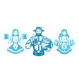 oktoberfest people man and woman silhouettes in vector image vector image