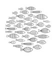 school of fish a group of stylized fish swimming vector image vector image
