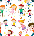 Seamless background with happy children vector image