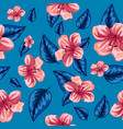 seamless pattern tropical pink flowers vector image vector image