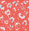seamless pattern with dogs in santa hat vector image vector image