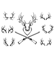Set of antlers with a trophy and guns vector image