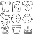 set of baby theme doodles vector image vector image