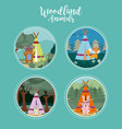 set of cute animals on round icons vector image