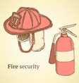 Sketch fire helmet and extinguisher in vintage vector image