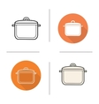 Stew pot flat design linear and color icons set vector image