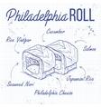 sushi sketch Philadelphia rolls vector image