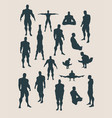 the set of body building silhouettes vector image vector image