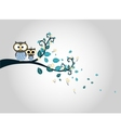 Two cute owls on a tree branch silhouette vector image vector image