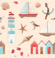watercolor marine pattern vector image