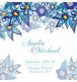 Wedding invitation card with blue flowers vector image vector image