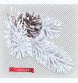 white pine cone christmas decoration 3d realistic vector image vector image