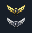 wings shield letter f logo template vector image vector image