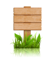 Wooden Signpost with Grass and Reflection on White vector image