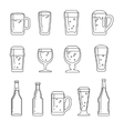 Beer line icons vector image