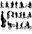 silhouettes children and man vector image
