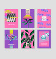 abstract tropical posters set with palm leaves vector image