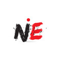 alphabet letter combination ne n e with grunge vector image vector image