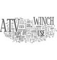 atv winch text word cloud concept vector image vector image