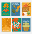 autumn foliage cards in flat style vector image vector image