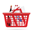 basket for supermarket with gift vector image