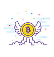 bitcoin with wings flat bitcoin icon vector image vector image