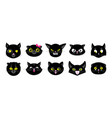 black cats faces isolated flat kittens halloween vector image vector image