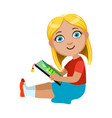 brond girl sitting reading electronic book part vector image vector image