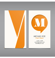 Business card template letter M vector image vector image