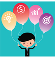 Businessman holding icon balloons vector image