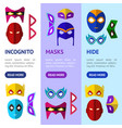 cartoon superhero mask banner vecrtical set vector image vector image